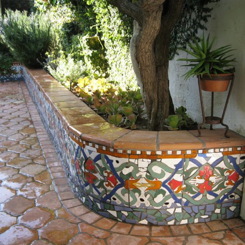 mexican tiles decorating a garden